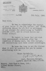 letter dated July 1940, from Lloyds Loading List to John Good regarding advertising cancellations due to war
